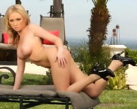Sexy Blonde Babe Madison Scott Strips Naked Outside in High Heels from Aziani